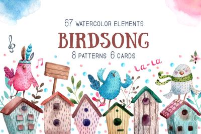 Birdsong - Watercolor Clip Art Set