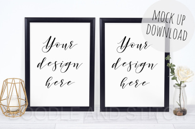 Two Black Frames Double Mockup Photography