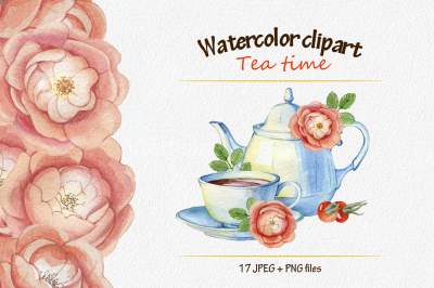 watercolor clipart tea time