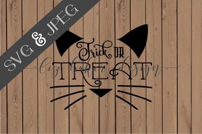 Trick Or Treat Cat Cut File SVG JPEG