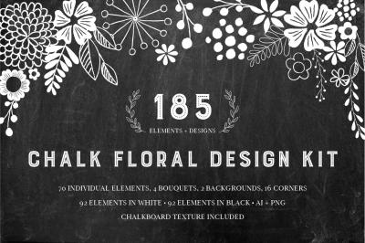 Chalkboard Floral Design Kit - AI PNG