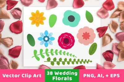 38 Wedding Florals, Floral Wedding Clipart, Flower Clipart, Floral Clipart, Fern Clipart, Rose Clipart