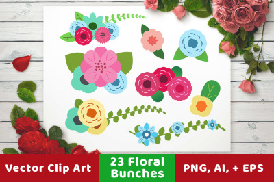 23 Floral Bunches, Floral Wedding Clipart, Floral Clipart, Flower Clipart, Wedding Divider Clipart, Digital Bouquet
