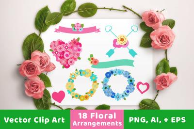 18 Floral Arrangements, Floral Wedding Clipart, Wedding Banner Clipart, Wedding Wreath Clipart, Flower Heart, Floral Wreath Clipart