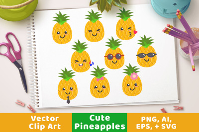 9 Cute Pineapples Clipart, Pineapple SVG, Tropical Fruit, Sunglass Pineapples, Tropical Clipart