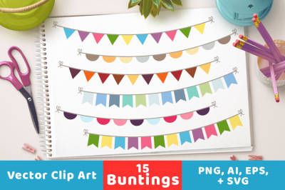 15 Buntings Clipart, Bunting Banner Clipart, Bunting SVG, Bunting Flag Clipart, Bunting Triangle, Bunting Half Circle