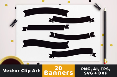 20 Simple Banners Clipart, Wedding Banner Clipart, Wedding Clipart, Ribbon Banner, Banner SVG