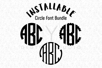 Installable Circle Monogram Fonts Bundle, Circle TTF font for Cricut, Silhouette, Illustrator, Photoshop