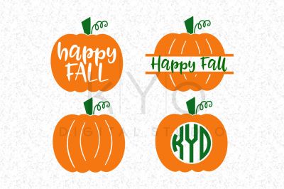 Happy Fall AutumnHalloween Pumpkin Monogram SVG DXF PNG EPSfiles for Cricut Explore Silhouette Cameo