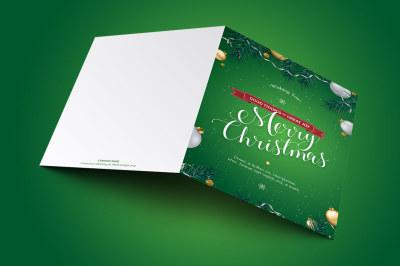 Green Christmas Greeting Card Template