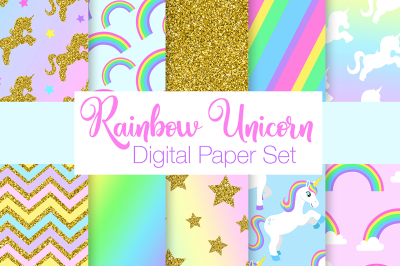 Rainbow Unicorn Digital Paper Set