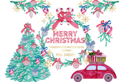 Watercolor Christmas Clipart, Xmas Clipart