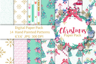 Christmas Digital Paper Seamless Patterns