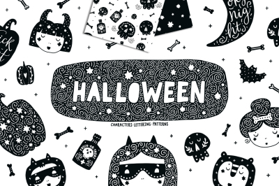 Halloween party Characters, patterns