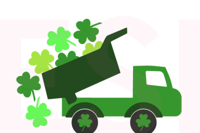 St. Patrick's Day Truck with Falling Shamrocks.