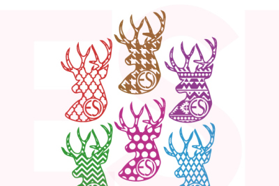 Patterned Deer Heads with Circle for Monogram