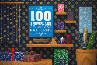 100 Snowflake Seamless Patterns