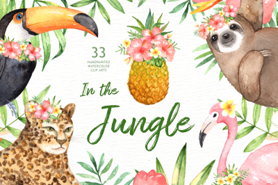 In the Jungle Watercolor Clipart