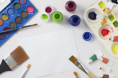 Watercolour and Paint Brushes Flat Lay Image