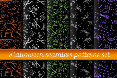 Halloween hand drawn patterns set
