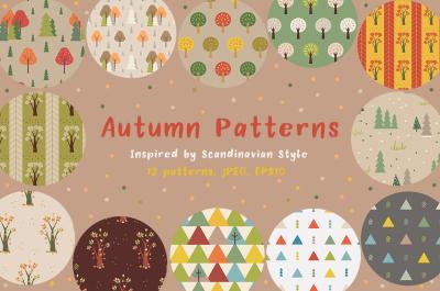 Autumn seamless patterns. Scandinavian Style