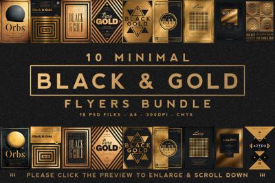 10 Minimal Black and Gold Flyers Bundle