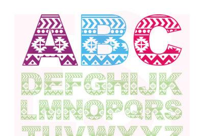 Aztec pattern alphabet - SVG, DXF, EPS.