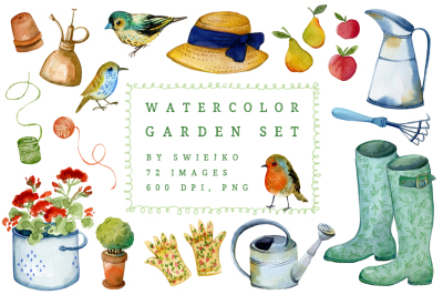 Watercolor Gardener clipart set