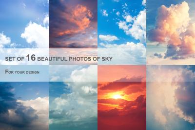 Set of 16 photos of sky