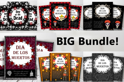 Dia de Muertos cards templates collection