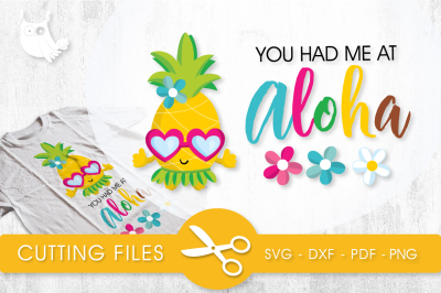 Aloha Pineapple SVG, PNG, EPS, DXF, cut file