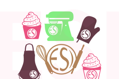 Baking Design Set, with Circle for a Monogram - SVG, DXF, EPS