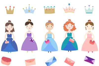 Cute Princesses clip art + crowns