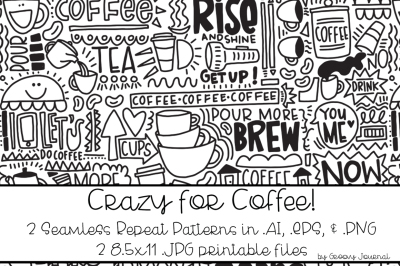 Crazy for Coffee Seamless Pattern