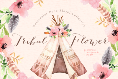 Tribal & Flower Watercolor clipart