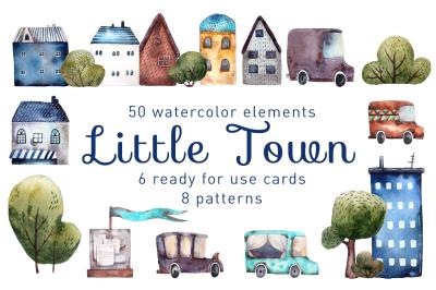 Little Town - Watercolor Clip Art Set