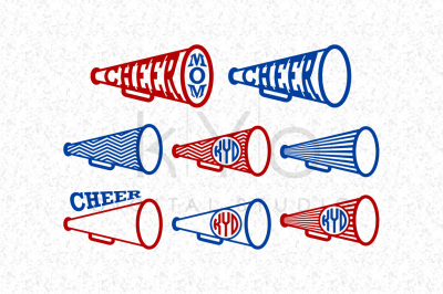 Cheer MOM Megaphone Monogram SVG files