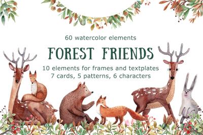 Forest Friends - Watercolor Clip Art Set