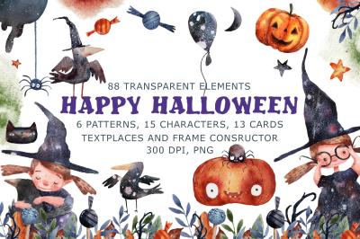 Happy Halloween - Watercolor Clip Art Set