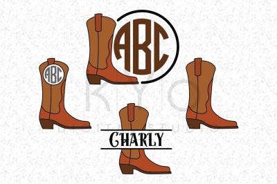 Cowboy Cowgirl Boots SVG DXF PND EPS cut files Western Farm GirlCountry GirlMonogram