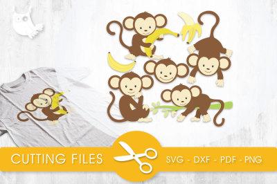 Boy Monkeys SVG, PNG, EPS, DXF, cut file