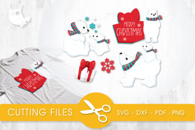 Christmas Polar Bears SVG, PNG, EPS, DXF, cut file