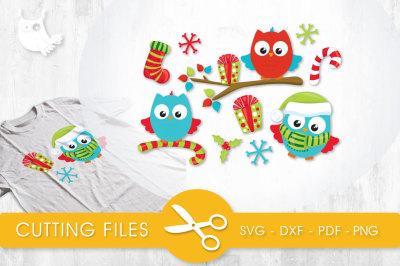Christmas Wintery Owls