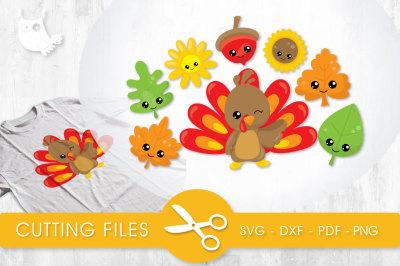 Cutesy Fall Turkey SVG, PNG, EPS, DXF, cut file