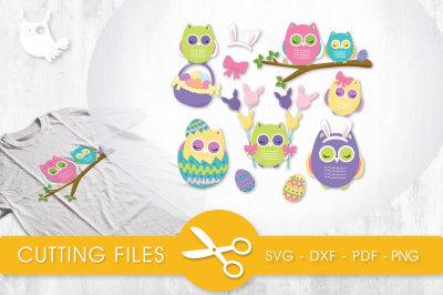 Easter Owls SVG, PNG, EPS, DXF, cut file