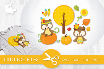 Fall Indian Owls SVG, PNG, EPS, DXF, cut file