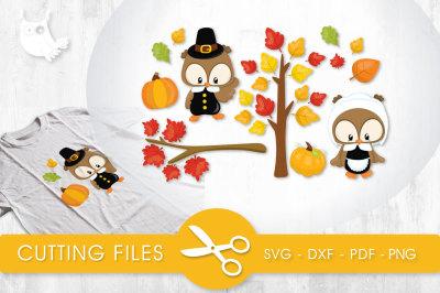 Fall Leaf Pilgrim Owls SVG, PNG, EPS, DXF, cut file