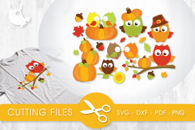 Fall Owls SVG, PNG, EPS, DXF, cut file