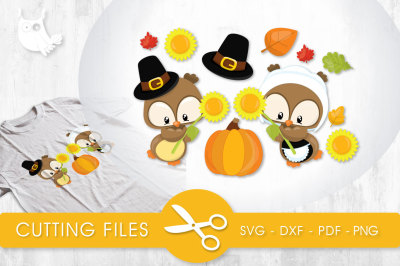 Fall Sunflower Pilgrim Owls SVG, PNG, EPS, DXF, cut file