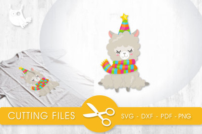 Festive Winter Llama SVG, PNG, EPS, DXF, cut file